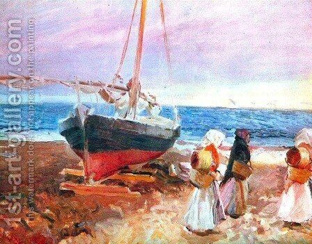 Fisherwomen on the Beach, Valencia by Joaquin Sorolla y Bastida - Reproduction Oil Painting