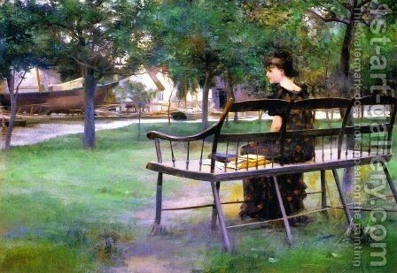 Woman on a Bench by Edwin Austin Abbey - Reproduction Oil Painting