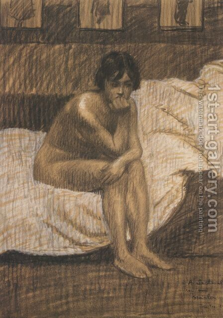 Nude woman sitting on the bed by Theophile Alexandre Steinlen - Reproduction Oil Painting