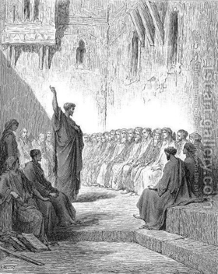 St.PaulPreachingToTheThessalonians by Gustave Dore - Reproduction Oil Painting