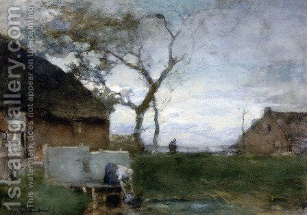 The washing place by Jan Hendrik Weissenbruch - Reproduction Oil Painting
