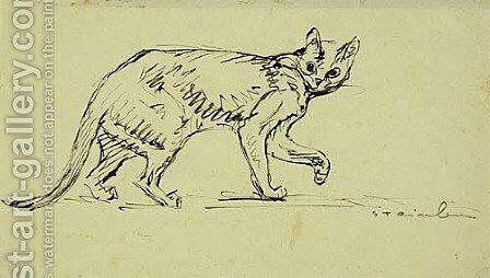 Cat Walking by Theophile Alexandre Steinlen - Reproduction Oil Painting