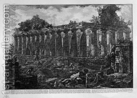 View of the Temple in the city of Paestum, believed dedicated to Juno by Giovanni Battista Piranesi - Reproduction Oil Painting