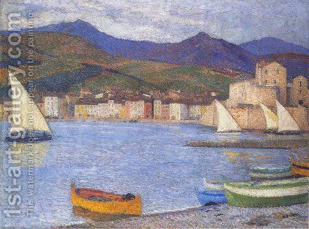 Sailboats in the Port of Collioure by Henri Martin - Reproduction Oil Painting