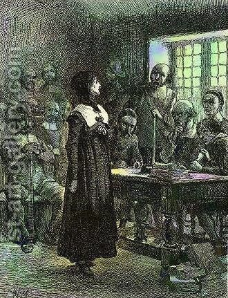 Anne Hutchinson on Trial by Edwin Austin Abbey - Reproduction Oil Painting
