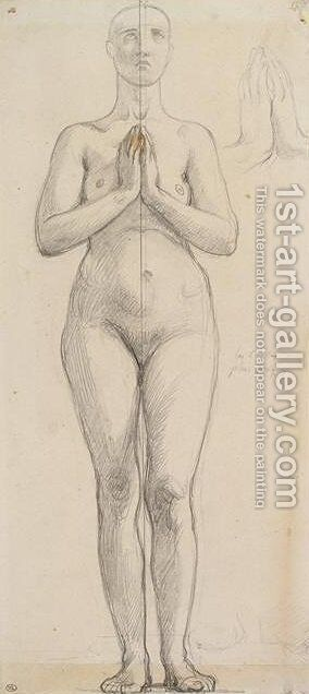 Study of the naked holy Isabella of France by Jean Auguste Dominique Ingres - Reproduction Oil Painting