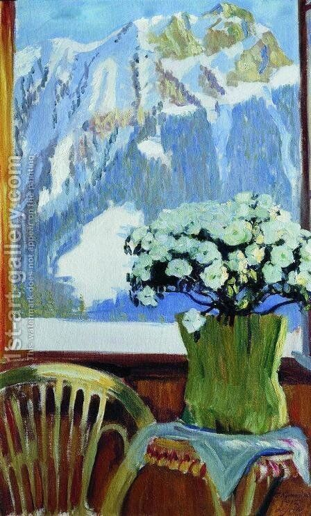 Flowers on the balcony by Boris Kustodiev - Reproduction Oil Painting