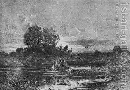 Overgrown pond by Ivan Shishkin - Reproduction Oil Painting