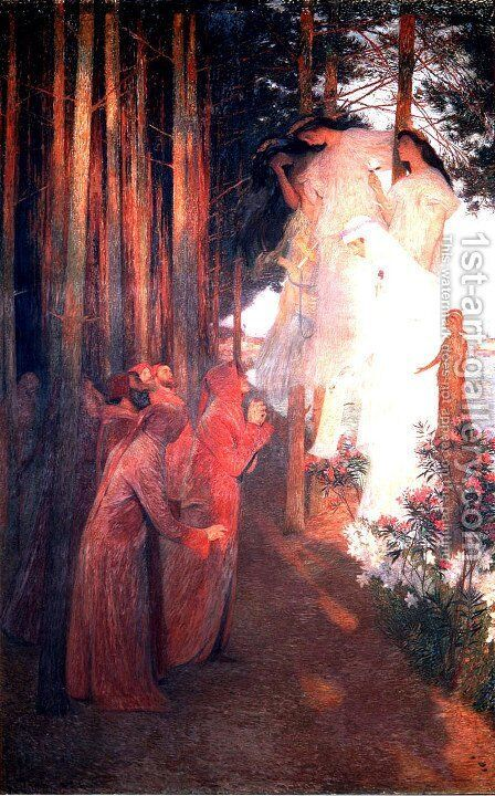 The Emergence of Clemence Isaure with Troubadours by Henri Martin - Reproduction Oil Painting