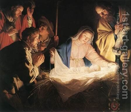 Adoration of the Shepherds 1622 by Gerrit Van Honthorst - Reproduction Oil Painting