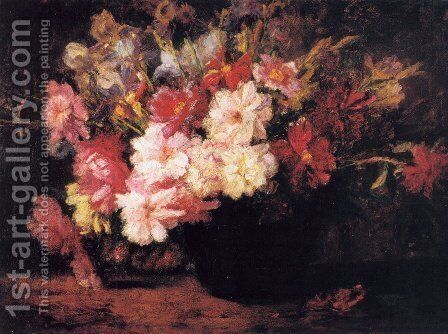 Peonies and Irises by Theodore Clement Steele - Reproduction Oil Painting