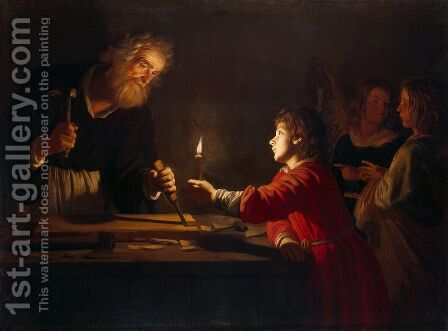 Childhood of Christ  1620 by Gerrit Van Honthorst - Reproduction Oil Painting