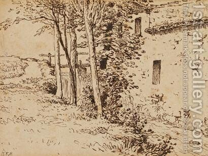 Water mill near Vichy by Jean-Francois Millet - Reproduction Oil Painting
