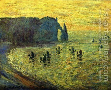 The Cliffs at Etretat by Claude Oscar Monet - Reproduction Oil Painting