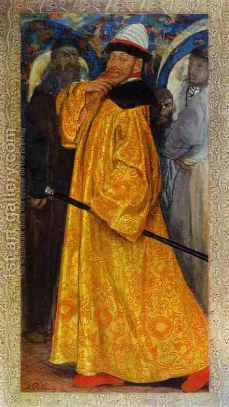 Presented with the Tzar's Own Fur lined Robe by Andrei Petrovich Ryabushkin - Reproduction Oil Painting