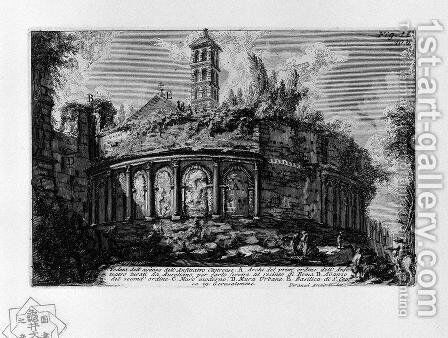The Roman antiquities, t. 1, Plate X. Aurelian Walls and Amphitheatrum Castrense. by Giovanni Battista Piranesi - Reproduction Oil Painting