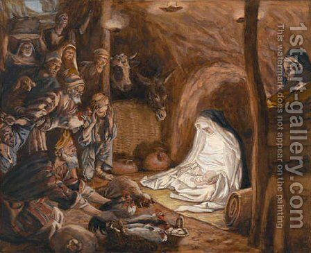 The Adoration of the Shepherds, illustration for 'The Life of Christ' by James Jacques Joseph Tissot - Reproduction Oil Painting