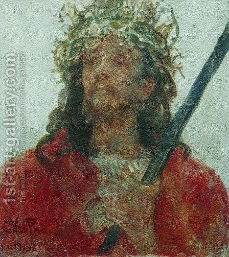 Jesus in a crown of thorns by Ilya Efimovich Efimovich Repin - Reproduction Oil Painting