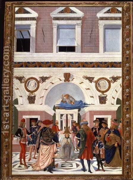 Painting cycle for the miracles of St. Bernard, scene Healing the blind and deaf Riccardo Micuzio dall 'Aquila by Bernardino di Betto (Pinturicchio) - Reproduction Oil Painting