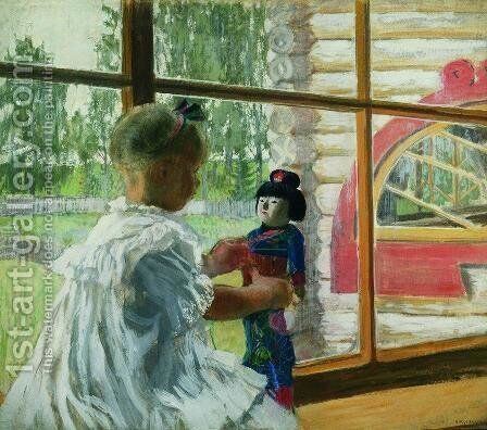 Japanese Doll by Boris Kustodiev - Reproduction Oil Painting