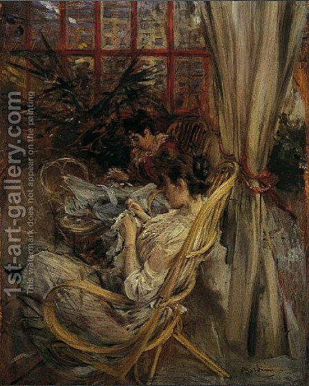 Two women are sewing by Giovanni Boldini - Reproduction Oil Painting
