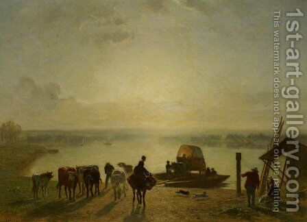 Unloading the Ferry by Constant Troyon - Reproduction Oil Painting