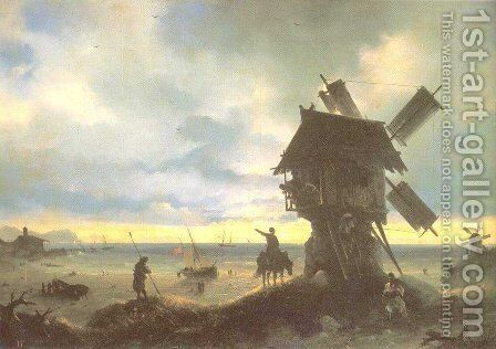 Windmill on the Sea Coast by Ivan Konstantinovich Aivazovsky - Reproduction Oil Painting