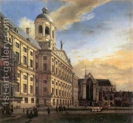 Amsterdam, Dam Square with the Town Hall and the Nieuwe Kerk 1667 by Jan Van Der Heyden - Reproduction Oil Painting