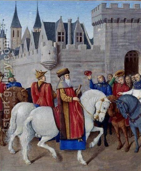 Entry of Emperor Charles IV in Cambrai by Jean Fouquet - Reproduction Oil Painting