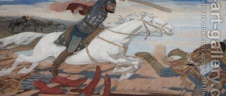 Prince Ukhtomsky in the Battle with Tartars at Volga in 1469 by Andrei Petrovich Ryabushkin - Reproduction Oil Painting