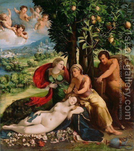 Mythological Scene by Dosso Dossi (Giovanni di Niccolo Luteri) - Reproduction Oil Painting