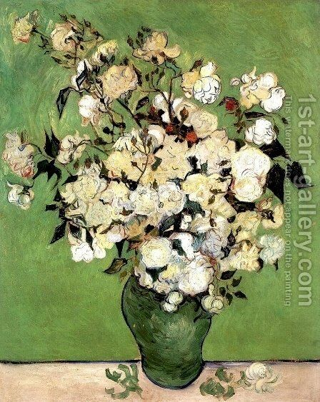 A Vase of Roses by Vincent Van Gogh - Reproduction Oil Painting