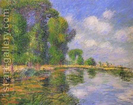 By the River in Autumn by Gustave Loiseau - Reproduction Oil Painting