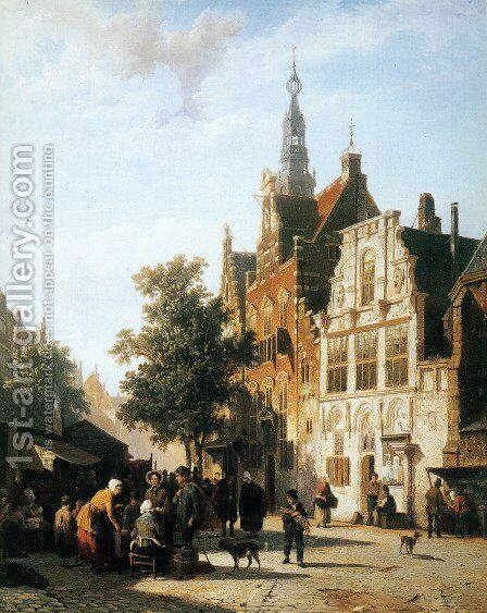 Marketview with cityhall Woerden by Cornelis Springer - Reproduction Oil Painting