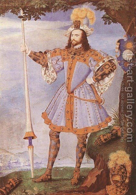 Portrait of George Clifford, Earl of Cumberland c. 1590 by Nicholas Hilliard - Reproduction Oil Painting