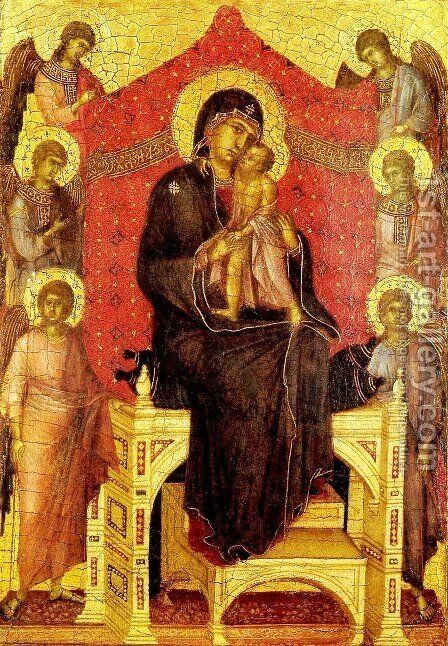 The Madonna and Child with Angels by Duccio Di Buoninsegna - Reproduction Oil Painting