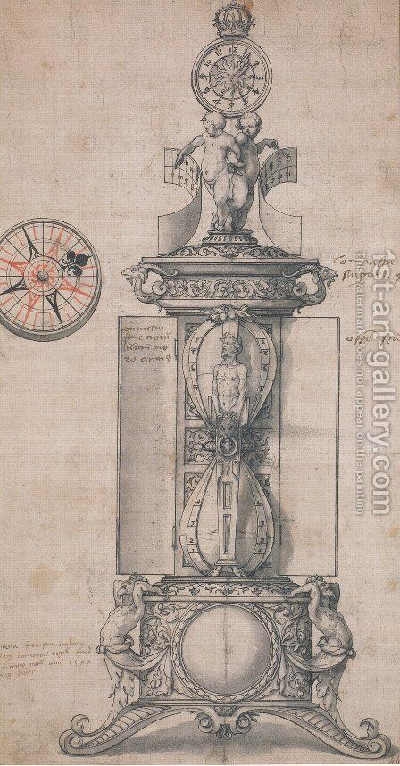 Design for Anthony Denny's Clocksalt by Hans, the Younger Holbein - Reproduction Oil Painting