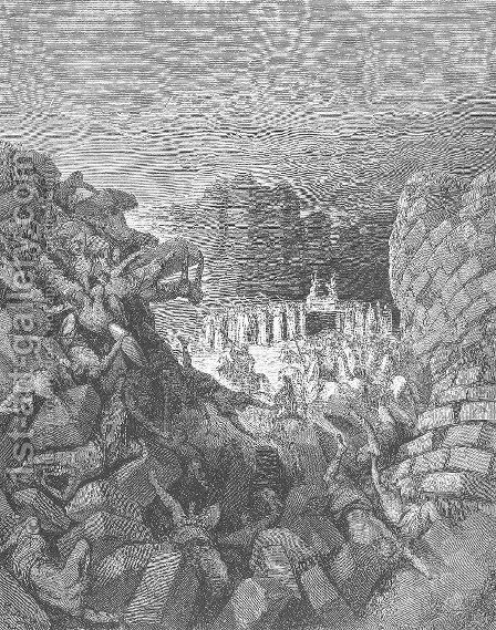 The Walls of Jericho Fall Down by Gustave Dore - Reproduction Oil Painting
