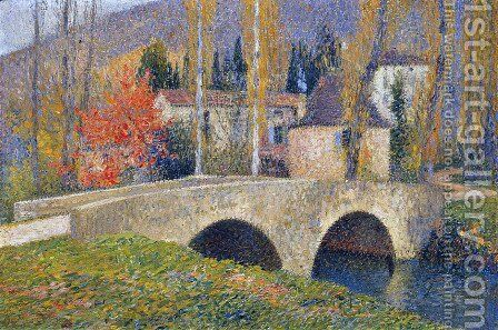 The Bridge in Labastide du Vert in Autumn by Henri Martin - Reproduction Oil Painting