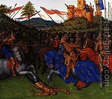 Wars of Charlemagne by Jean Fouquet - Reproduction Oil Painting