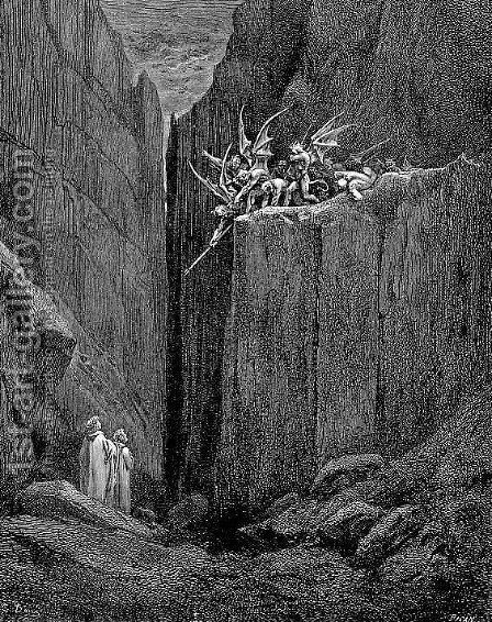 Tumult and Escape by Gustave Dore - Reproduction Oil Painting