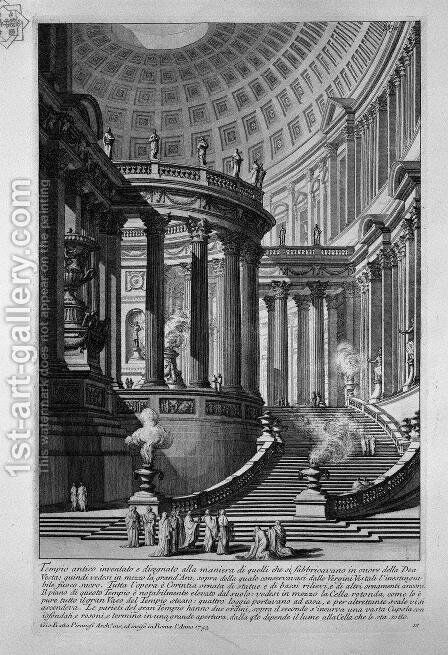 Ancient temple invented and designed in the manner of those that were manufactured in honor of the goddess Vesta (recorded in 1743) by Giovanni Battista Piranesi - Reproduction Oil Painting