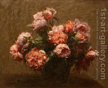 Vase of Peonies 2 by Ignace Henri Jean Fantin-Latour - Reproduction Oil Painting