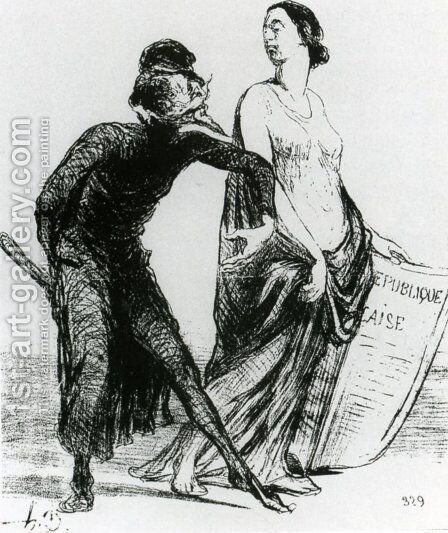 Beautiful injury, want you to accept my arm by Honoré Daumier - Reproduction Oil Painting