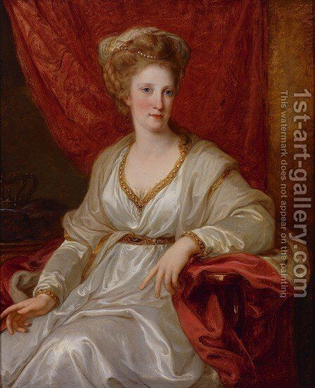 Portrait of Maria Carolina of Austria by Angelica Kauffmann - Reproduction Oil Painting