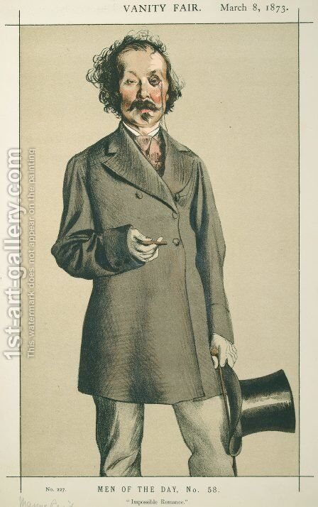 Men of the Day No.580 Caricature of Mr.Thomas Mayne Reid by James Jacques Joseph Tissot - Reproduction Oil Painting