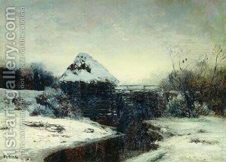 Winter landscape with mill by Isaak Ilyich Levitan - Reproduction Oil Painting