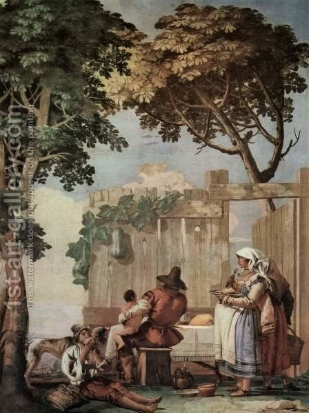 Peasant Family at Table, from the Room of Rustic Scenes, in the Foresteria (Guesthouse) by Giovanni Domenico Tiepolo - Reproduction Oil Painting
