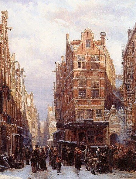 The Jewish quarter in Amsterdam by Cornelis Springer - Reproduction Oil Painting