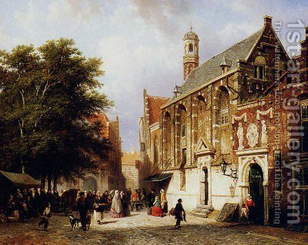 City view by Cornelis Springer - Reproduction Oil Painting